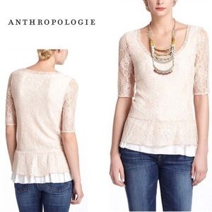 Anthropologie Deletta Ruffle Lace Peplum Top